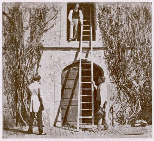 WILLIAM HENRY FOX TALBOT Three men, a ladder, a doorway, shadows - a moment of time caught by what Talbot termed 'the pencil of Nature&#39