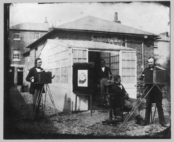 The 'studio' of W H Fox Talbot at Reading : he is the figure standing on the right