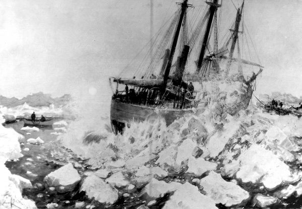 Illustration showing Fridtjof Nansen's ship the 'Fram' as it was released from the Arctic ice pack, by detonating an explosive charge in the ice underneath the vessel, 1896. Nansen embarked with 12 crew in 1893 for a three-year expedition
