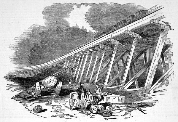Frame work of Coopers Bridge, near Greenwich. The designers, Mr Grissell and Mr Petolent lent inspiration from similar American structures. The main body of the viaduct is constructed from timber, which was treated with anti dry rot, pateneted by Payne's
