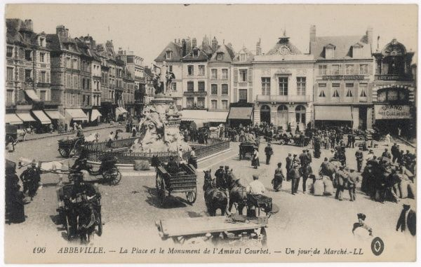 Abbeville: market day in Admiral Courbet Square