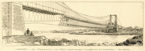 The bridge 'Pont-Lorois, over the river Etel at Lorient, Brittany (France), after it's collapse on 14 November