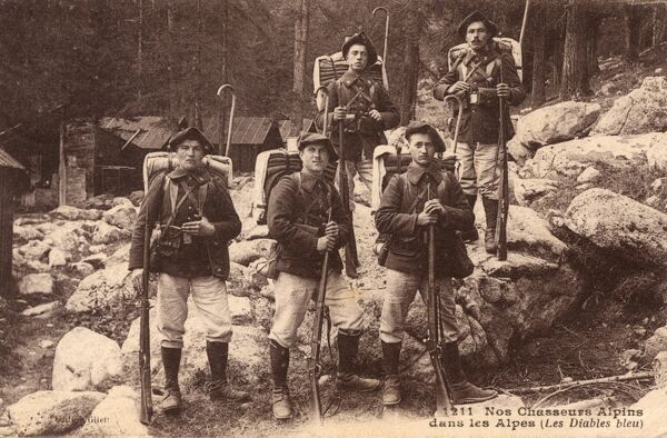 The Chasseurs Alpins (English: Alpine Hunters) are the elite mountain infantry of the French Army. They are trained to operate in mountainous terrain and in urban warfare. Date: circa 1912