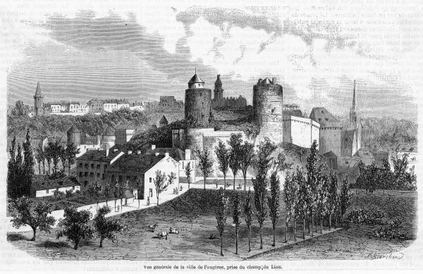 General view of the town with its imposing chateau : it is located in northwest France, not far from Rennes