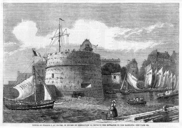 The tour de Francois I, at the entrance to the harbour, in the course of demolition to facilitate access for larger vessels