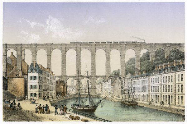 Morlaix, Brittany: the viaduct, with ships and quay below