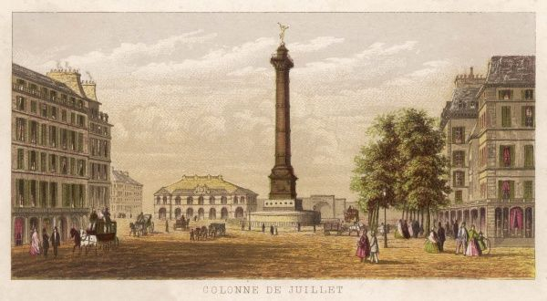 The Colonne de Juillet in the place de la Bastille commemorates the 'fall. of the Bastille in 1789