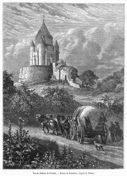 A wagon trundles past the chateau de Provins, in the environs of Paris : the town produces rose honey, rose jam, rose-flavoured confectionery - truly, la vie en rose !
