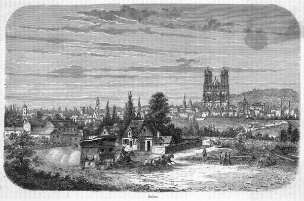 General view of the town, dominated by its magnificent cathedral where the kings of France used to come to be crowned. A diligence is passing in the foreground