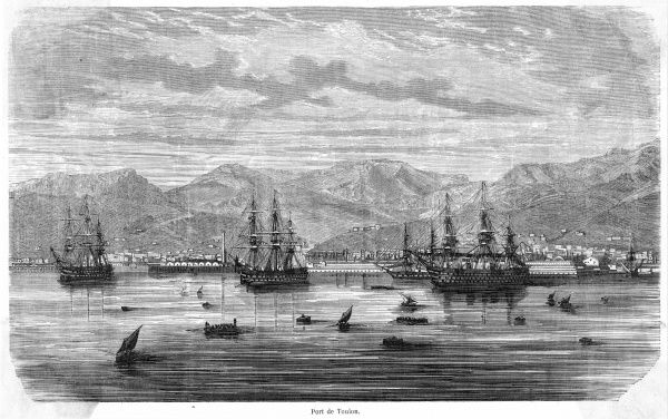 The Mediterranean harbour and naval base of Toulon, seen from the sea
