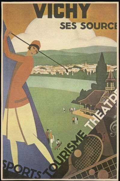 A female golfer is used to advertise the attractions of Vichy in France