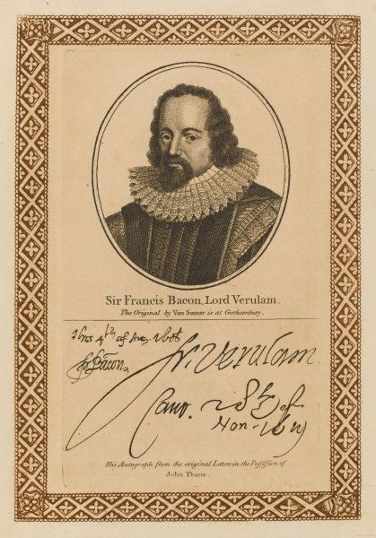 FRANCIS BACON, Lord Verulam writer, philosopher, statesman etc. - with his autograph