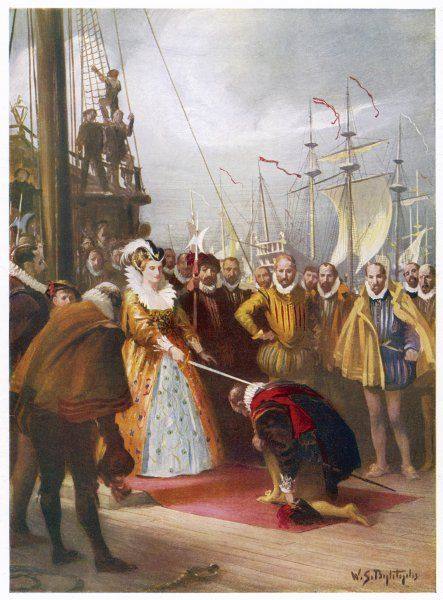 SIR FRANCIS DRAKE English admiral knighted by Queen Elizabeth at Deptford on 4 April 1581, on board his ship, 'Golden Hind' after his round the world voyage