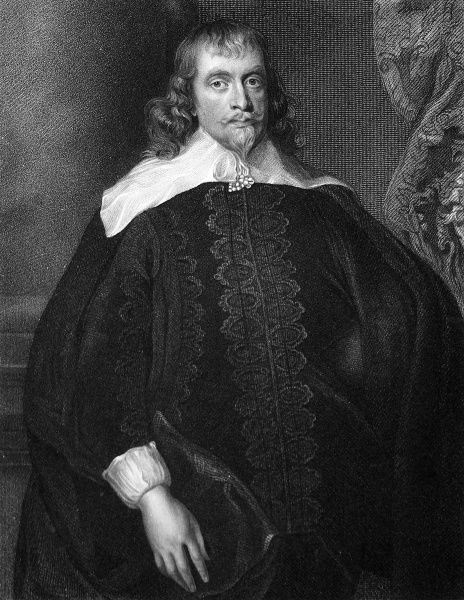 Portrait of Francis Russell (about 1593-1641), the 4th Earl of Bedford and 2nd Lord of Thornhaugh. This engraving was created from the Vandyke painting in the collection in the Duke of Bedford