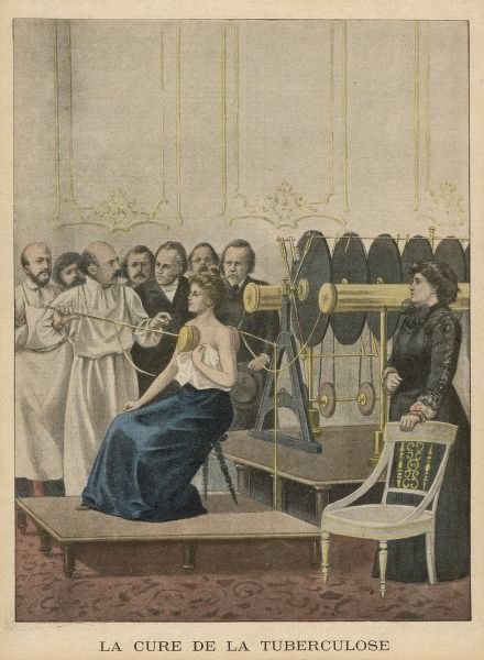 Francois Crotte's electrical cure for TB being demonstrated on a female sufferer