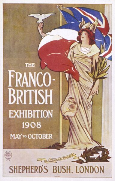 The Franco-British exhibition held at the White City, London. A publicity card to promote the event