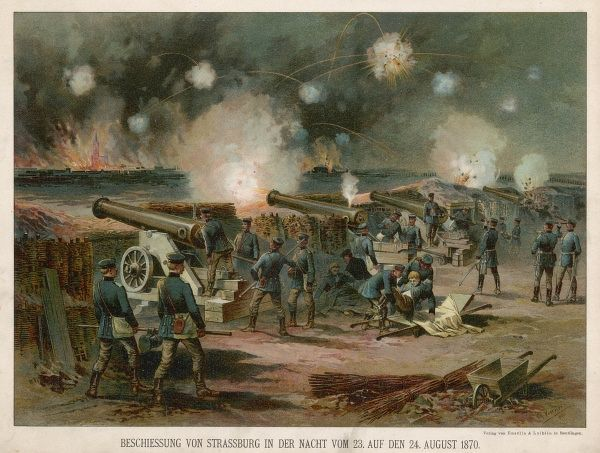 Prussian guns bombard Strasbourg across the water during Franco-Prussian War