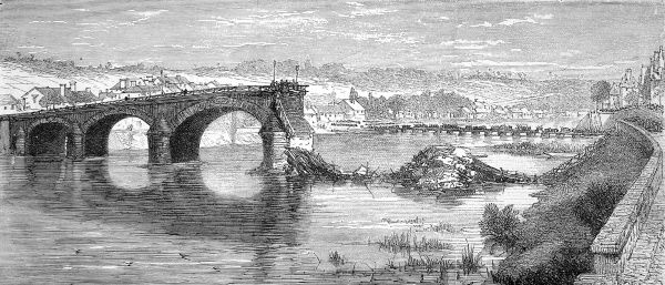 In order to stop the Prussian advance the French troops destroyed strategically placed bridges. In early October 1870 the French were surrounded by the Prussians and surrendered at Metz on October 27th