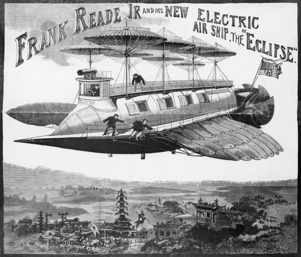 FRANK READE JR. AND HIS NEW ELECTRIC AIR SHIP, 'THE ECLIPSE&#39