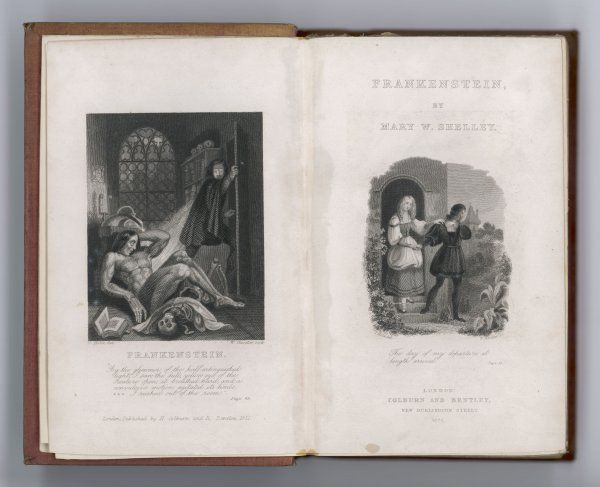 FRANKENSTEIN Frontispiece and Title Page to Mary Shelley's novel