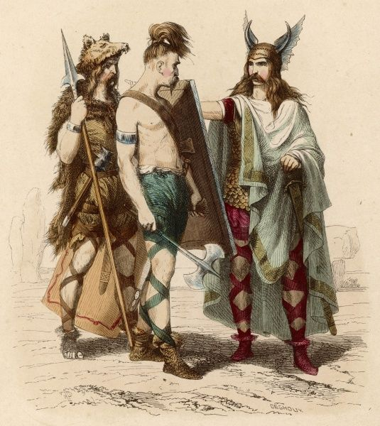 A Frankish chief and two of his warriors of ancient Gaul