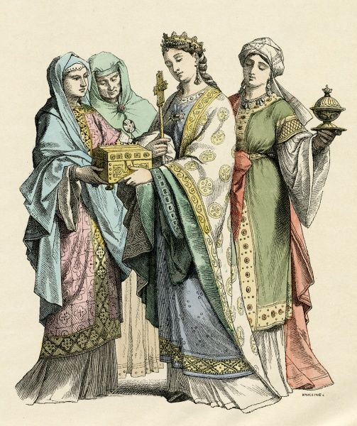 Frankish noblewomen. The East Franks inhabited present-day Germany, the West Franks present-day France Date: Tenth century