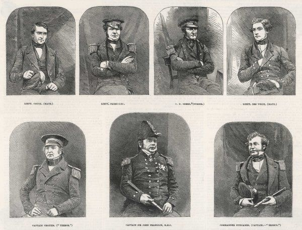 Franklin and his officers: L to R: Couch (Mate), Fairholme, Osmer (Purser), des Voeux (Mate), Crozier, Franklin and Fitzjames