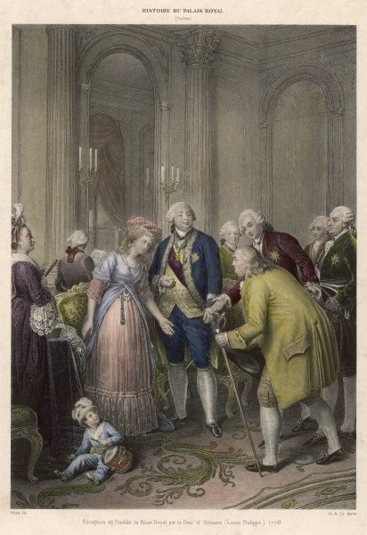 BENJAMIN FRANKLIN Visiting France, he is received at the Palais Royal by the duc (the future Louis- Philippe) and duchesse d'Orleans