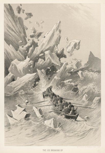Ice breaking up during Franklin's land expedition, parts of which they had to make in small boats, such as this one, which were rather precarious