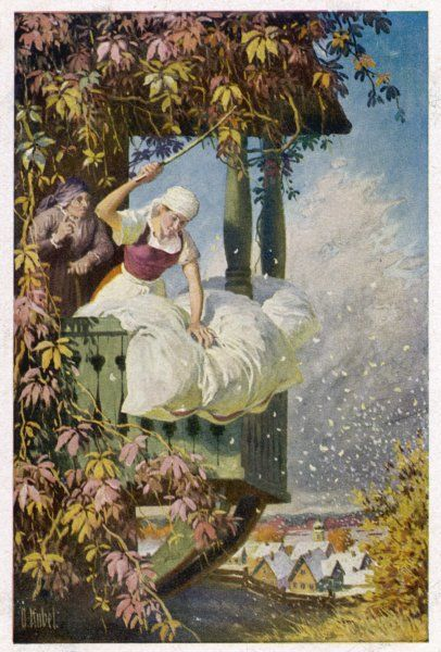 Some Germans believe that snowstorms are caused by the bedfeathers which fall when Frau Holle's duvet is shaken; not so, they are brought by the North Wind Fairy