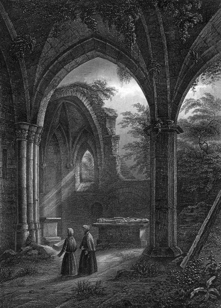 The tomb of saint Genoveva in the ruined Frauenkirche at Andernach. Date: 1850