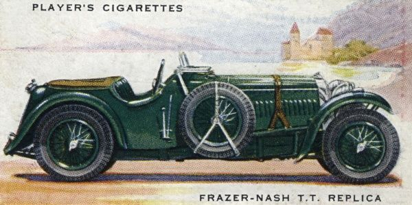 A marque for the serious sports-car enthusiast, the oddly-named Frazer-Nash T.T. Replica is priced at over six hundred pounds. Date: 1937