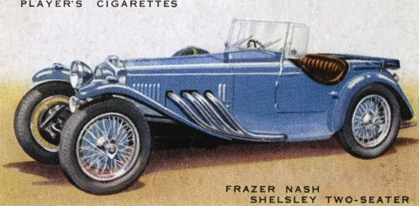The Frazer-Nash Shelsley two seater is a supercharged four- cylinder sports car has a maximum speed over 100 mph. Excellent road-holding and hill-climbing. Date: 1936