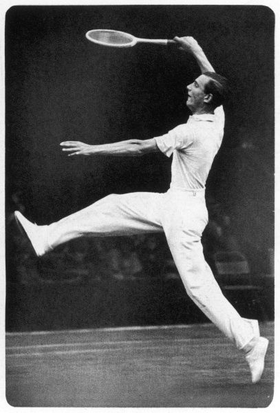 Fred. J. Perry playing on the centre court at Wimbledon