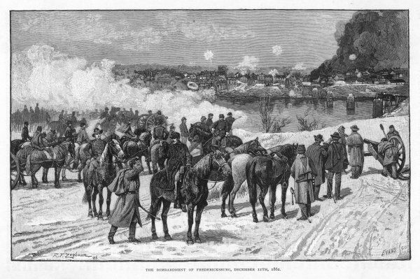 Federal troops, under the popular but incompetent general Burnside, bombard Fredericksbug, Virginia, across the Rappahannock river, but Lee will win the battle