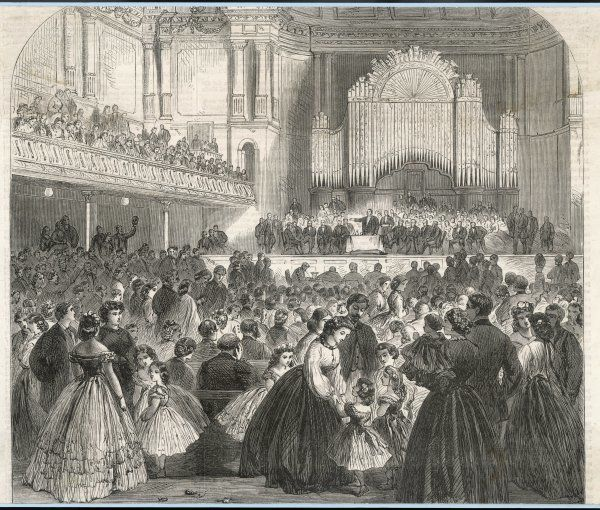 A meeting of the Manchester & Salford Co-operative Society in the Free Trade Hall, Manchester