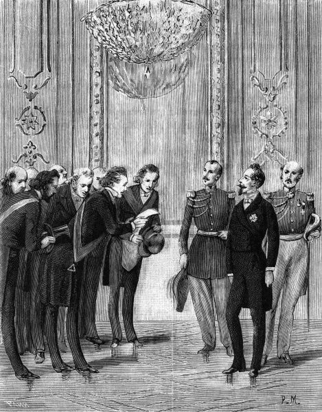 The day after the coup d'etat of 1851, the same members of the Free-Masons, who had applauded the creation of a French Republic, congratulate Prince Napoleon Bonaparte on his ascension to Emperor