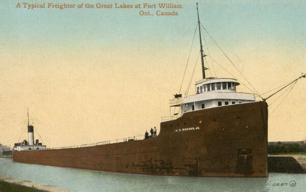 A Freighter of the Great Lakes - Fort William, Ontario, Canada