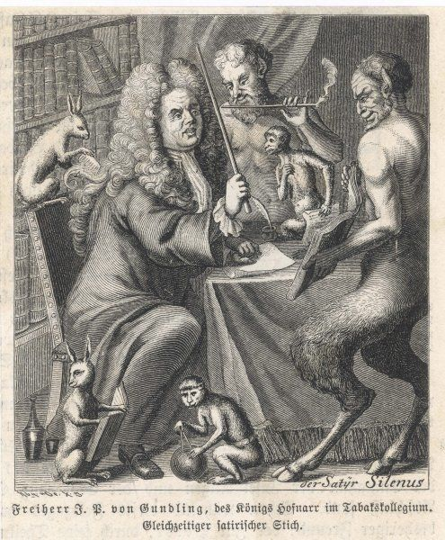 JAKOB PAUL Freiherr von GUNDLING : German statesman and historian, treated as a buffoon at the court of Friedrich I - hence this depiction of him as Silenus