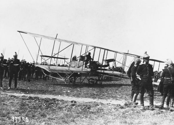 French aircraft the Maurice Farman reconnaissance and light bomber biplane used during the early stages of World War I