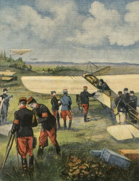 In their annual manoeuvres, the French army experiments with the use of monoplanes for reconnaissance purposes, bringing back information about the enemy's whereabouts. Date: September 1910