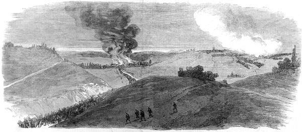 Engraving showing the French Army being driven out of Carignan by the Prussians on 30th August 1870