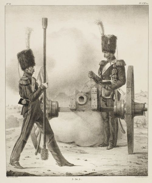 One gunner of the foot artillery of the French Garde Royale steps back after loading the gun : his mate places the powder which will fire the cannon