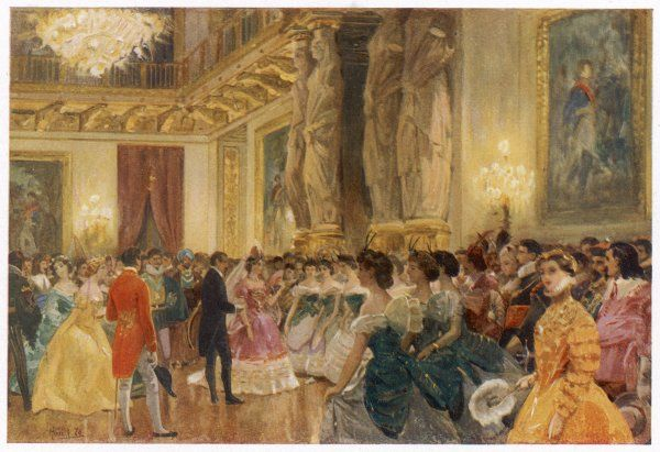 A ball at the French court - at the Palais des Tuileries, Paris, dancers are presented to the Empress Eugenie