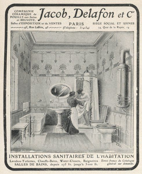 A chambermaid helps her mistress take a shower in this elaborate bathroom containing bath, shower, bidet and loo, as well as the geyser to supply the hot water