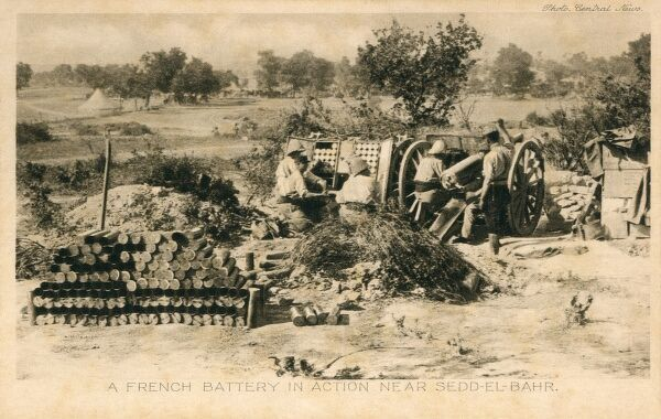 This picture shows one of the guns of a French battery in action in the Gallipoli Peninsula