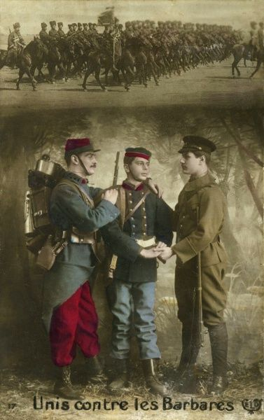 "Two French soldiers join hands with a British soldier, ""united against the barbarians"". Date: early 20th century"