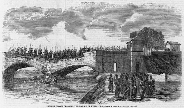 French troops advance across the bridge at Buffalora