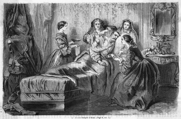 A casualty of the French Italian expedition is consoled by a quartet of sympathetic signorinas