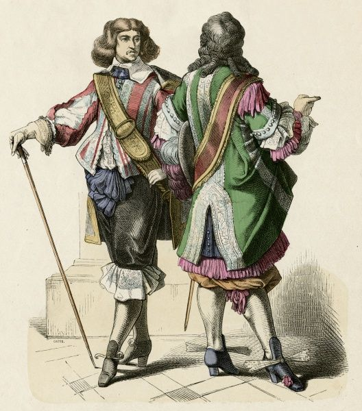 Two French cavaliers during the reign of Louis XIV, their dress more ornamental than practical Date: circa 1680
